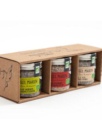Trio de Sels de Guérande IGP aromatisés certifiés BIO – spécial viande